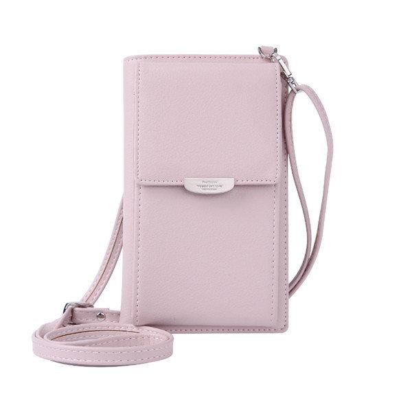 Women Multi-function Phone Purse 6 Card Slot Card Holder Solid Crossbody Bag