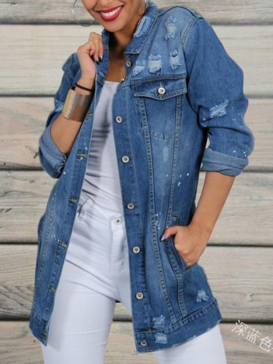 LW lovely Trendy Turndown Collar Buttons Design Deep Blue Denim Jacket