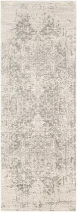 Harput HAP-1024 27 x 103 Runner Traditional Rug in Charcoal  Light Gray