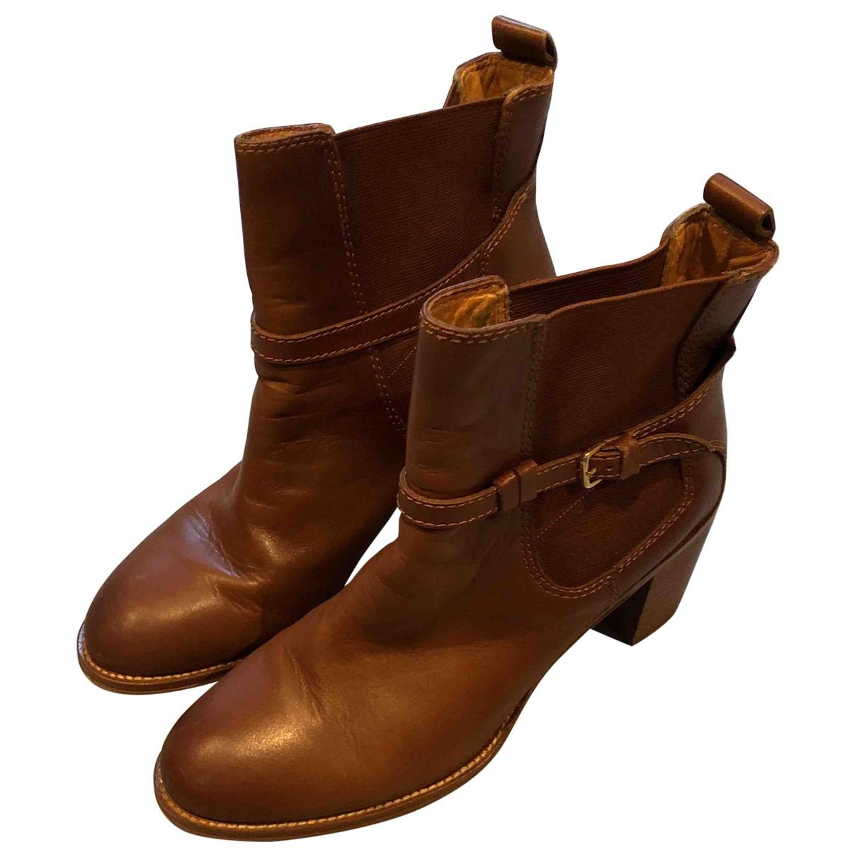 Zara - Boots   pour femme en cuir - marron