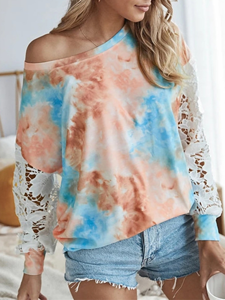 Yoins Tie Dye Lace Patchwork Round Neck Long Sleeves Tee