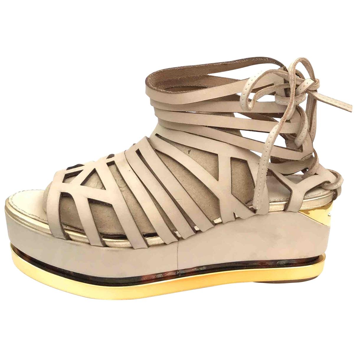 tophop Boutique \N Beige Leather Sandals for Women 36 EU