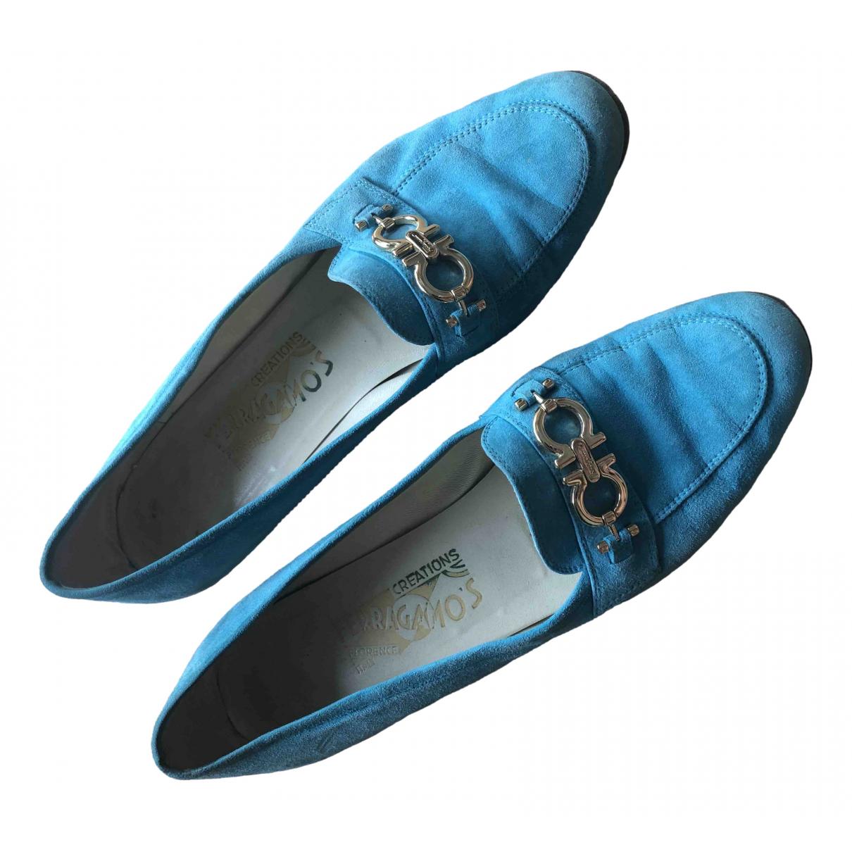 Salvatore Ferragamo \N Turquoise Suede Flats for Women 39.5 IT