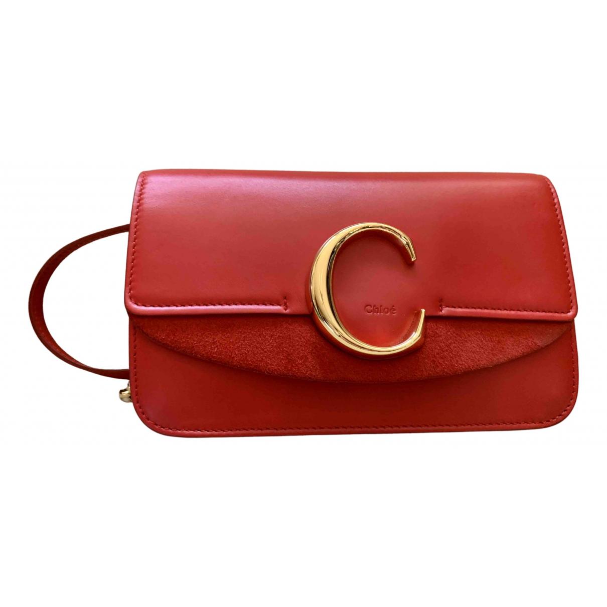 Chloe - Sac a main C pour femme en cuir - rouge