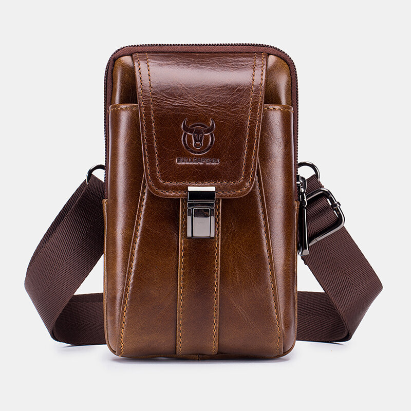 Men EDC Genuine Leather Multi-Carry 6.5 Inch Phone Holder Waist Belt Bag Crossbody Bag