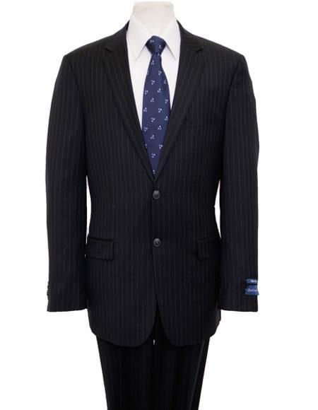 Men's Single Notch Lapel Pinstripe Classic Navy Suit Flat Front Pant