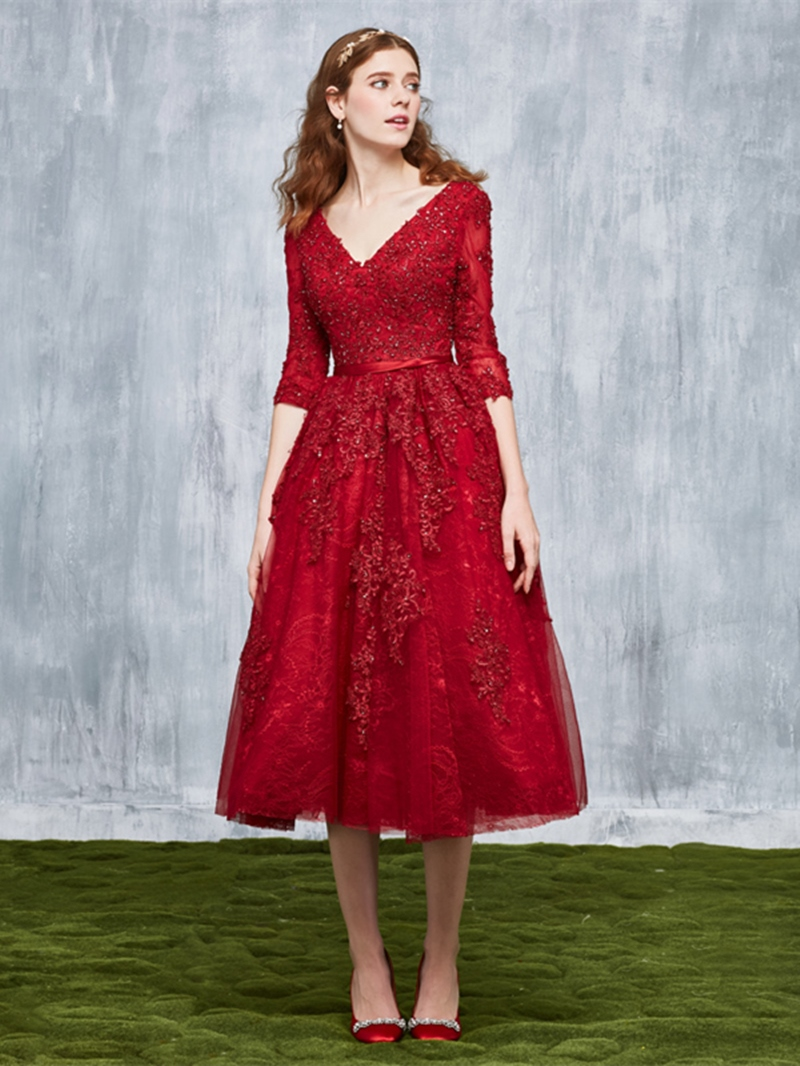 Ericdress A Line 3/4 Sleeve Lace Applique Beaded Tea Length Evening Dress