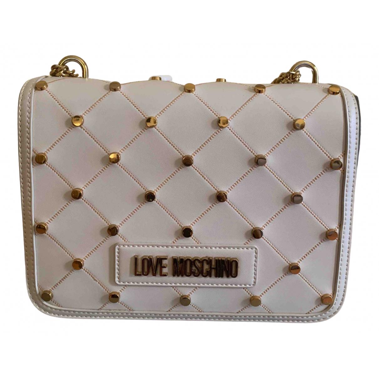 Moschino Love \N Handtasche in  Weiss Leder