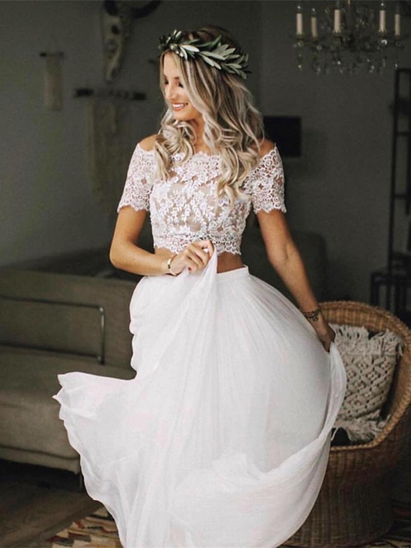 Ericdress 2 Pieces Button Appliques Beach Wedding Dress