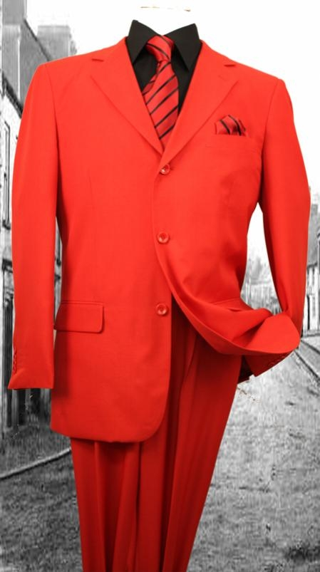 Mens 3Button Suit Single Breasted Slim Fit Double Pleated Pants Red