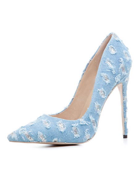 Milanoo Women High Heels Pointed Toe Heel Deep Blue Slip On Pumps