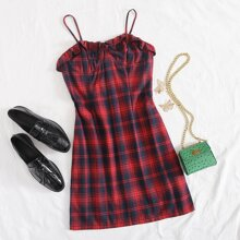 Frill Trim Tartan Cami Dress