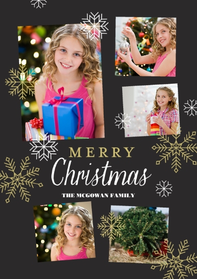 Christmas Photo Cards 5x7 Cards, Premium Cardstock 120lb with Rounded Corners, Card & Stationery -Snowflake Christmas