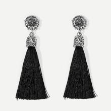 Pendientes largos con flecos con diseño de diamantes de imitacion