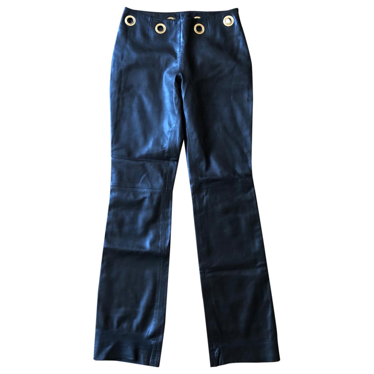 Celine \N Black Leather Trousers for Women 38 FR