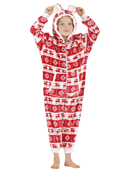 Milanoo Onesie Pajamas Kigurumi Christmas Print Kids Flannel Winter Sleepwear Mascot Animal Halloween