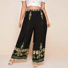Plus Tribal Embroidered Wide Leg Pants
