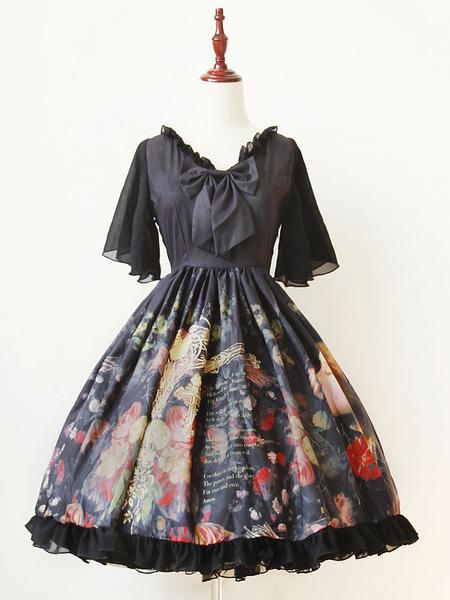 Milanoo Gothic Lolita Dress OP The Girl Picking Up Flowers Printed Bow Silk V-neck Butterfly Sleeve Lolita One Piece Dress Original Design