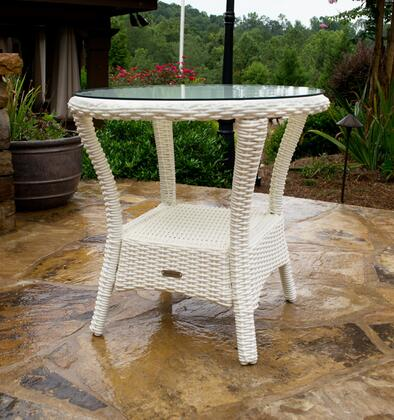 BAY-SIDE-MAGNOLIA Bayview Side Table with Aluminum Frame  Tempered Glass Top and All-Weather Resin Wicker in Magnolia