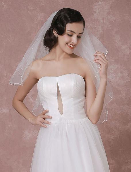 Milanoo Ivory Wedding Veil Tulle Two-Tier Pearl Trim Edge Bridal Veil