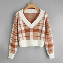 Pullover mit sehr tief angesetzter Schulterpartie und Plaid Muster