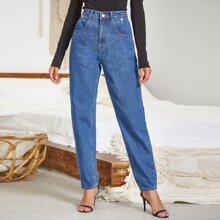 High Waisted Button Detail Slant Pocket Jeans