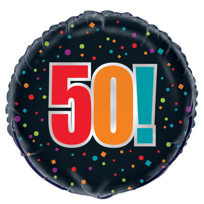Birthday Cheer Age 50 Round Foil Balloon 18