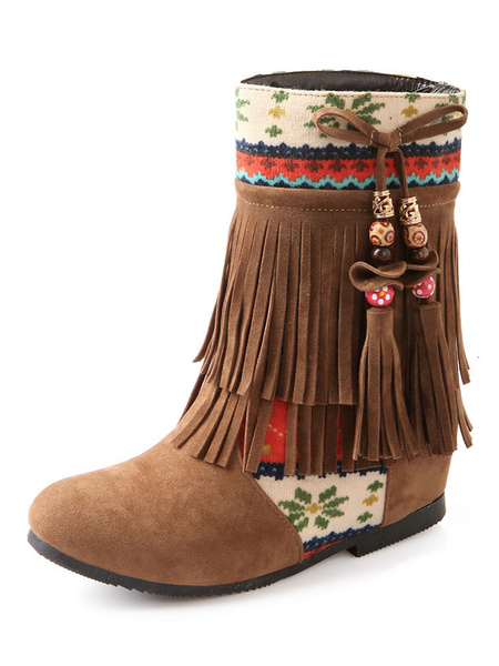 Milanoo Women Bohemia Boots Round Toe 1.8 Wedge Heel Boots With Fringe And Tassels