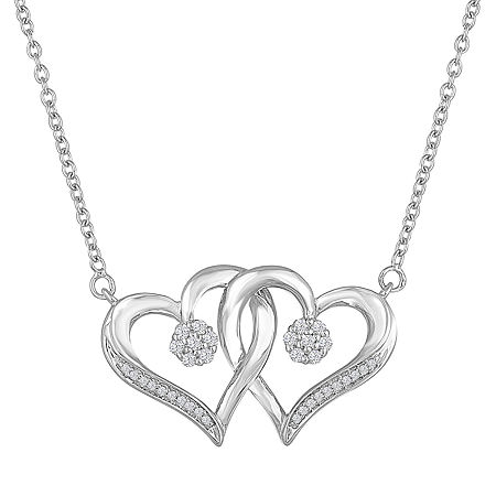 Diamond Blossom 1/10 CT. T.W. Sterling Silver Heart Pendant Necklace, One Size , No Color Family