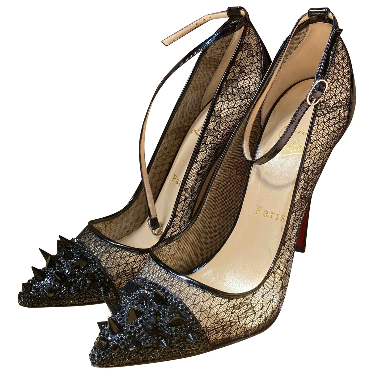 Christian Louboutin \N Black Patent leather Heels for Women 37.5 IT