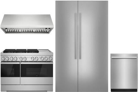 4 Piece Kitchen Appliances Package with JS48NXFXDE 48