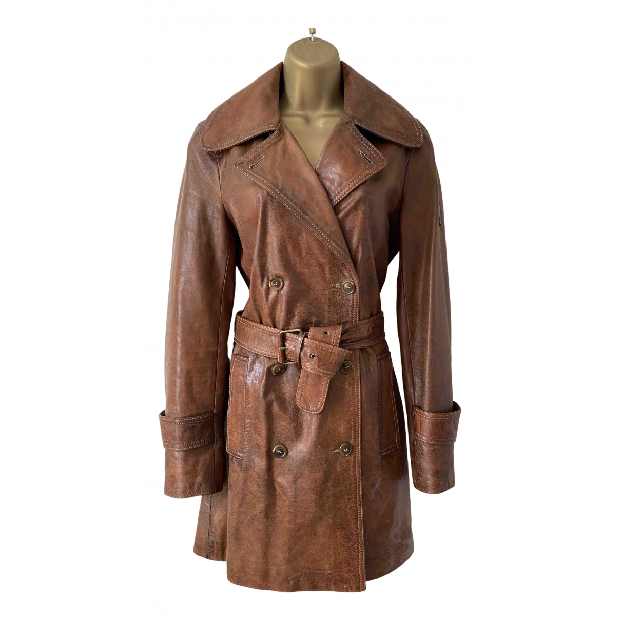 Belstaff \N Brown Leather Trench coat for Women 42 IT