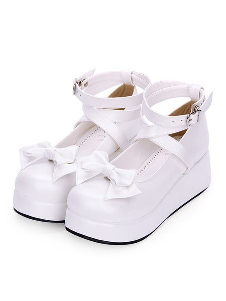 Milanoo Sweet Lolita Pumps Bow Strappy Platform White Lolita Shoes