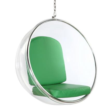 Bubble Collection FMI1122-GREEN Hanging Chair with Transparent Acrylic Frame  Contemporary Style  Polished Chrome Chain and PU leather Cushions in
