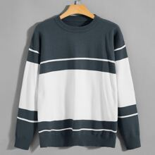 Guys Striped Colorblock Drop Shoulder Sweater