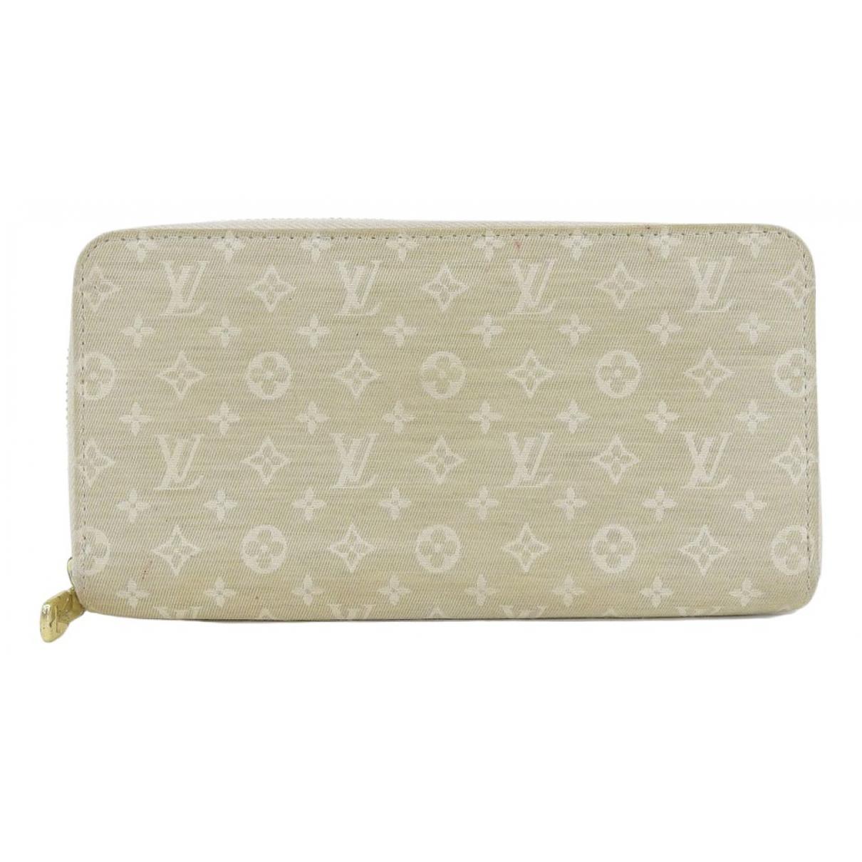 Louis Vuitton Zippy Portemonnaie in  Beige Leinen