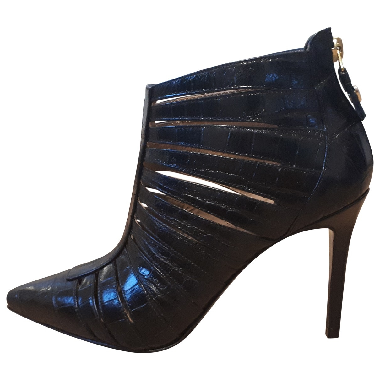 Twin Set \N Black Leather Ankle boots for Women 36 EU