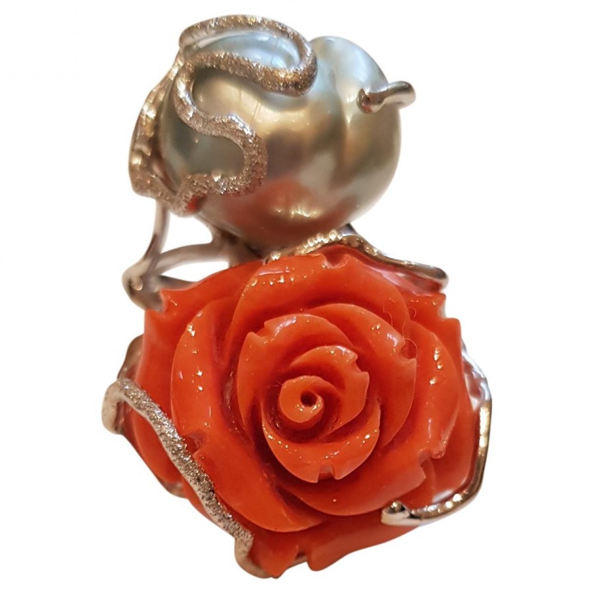- Bague Motifs Floraux pour femme en or blanc - orange