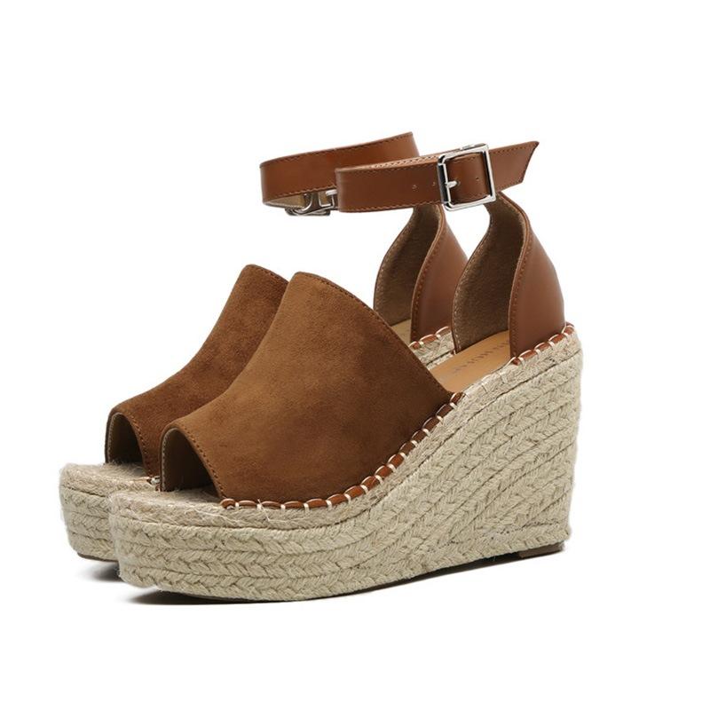 Ericdress Buckle Peep Toe Platform Espadrille Wedge Sandals