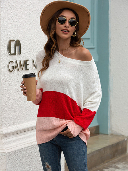 Yoins Color Block Round Neck Long Sleeves Knit Top