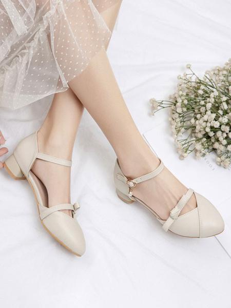Milanoo Sweet Lolita Footwear White Bows PU Leather Puppy Heel Lolita Pumps