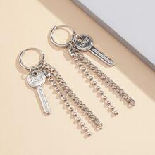 Key & Chain Tassel Drop Earrings