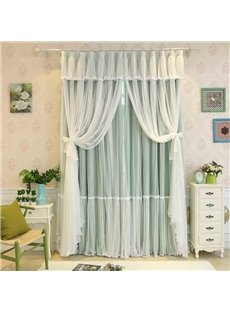 Princess Style Green Sheer and Cloth Sewing Together Blackout Custom Curtain