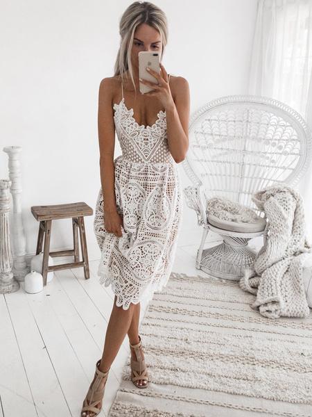 Milanoo Vestidos de encaje blanco sin mangas con cuello en V Vestido sin mangas de mujer