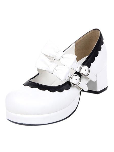 Milanoo Sweet Lolita Chunky Square Heels Shoes Bows Trim Round Toe