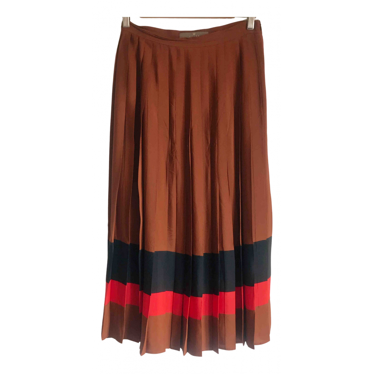 - Jupe   pour femme en soie - marron