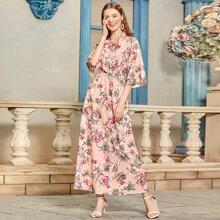 Tie Neck Bell Sleeve Floral Print Dress