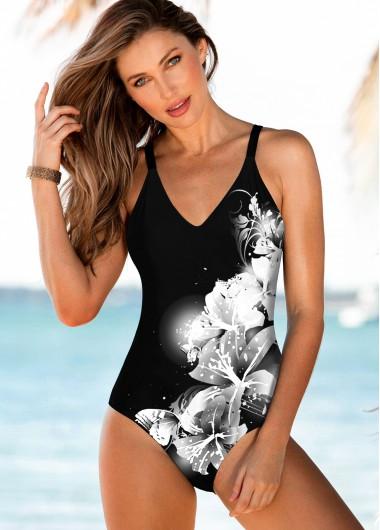 One-Piece Swimsuits Floral Print Spaghetti Strap Black One Piece Swimwear - M