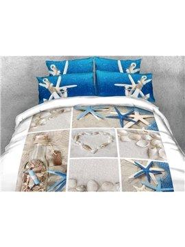 Vivilinen 3D Shells and Starfish Printed Cotton 4-Piece Bedding Sets/Duvet Covers