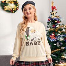 Sweatshirt mit Weihnachten Muster und sehr tief angesetzter Schulterpartie